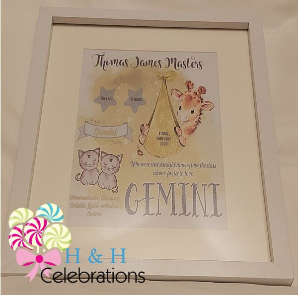 Gemini New Baby Star Sign Print